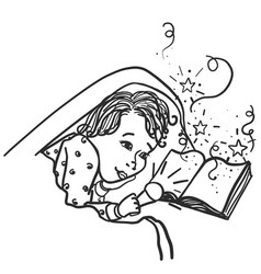 Child under the covers with a flashlight reading vector