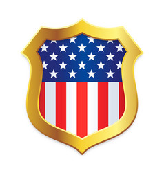 classic shield gold edge with usa flag vector image
