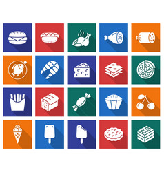 collection of square icons food vector image