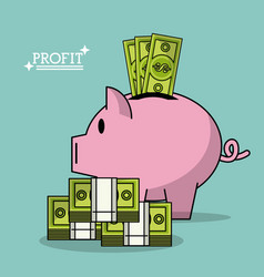 Colorful poster with profit money box shape of pig vector