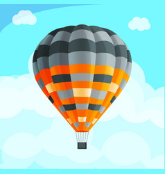 Colorful realistic air balloon among blue sky vector