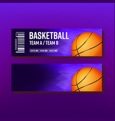 colorful ticket visit basketball template vector image