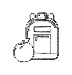 Contour bag study tool with apple fruit vector