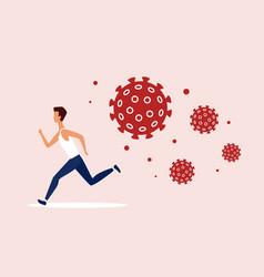 coronavirus dangerous covid19 cells chasing man vector image