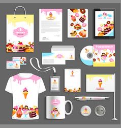 Corporate identity items for bakery vector