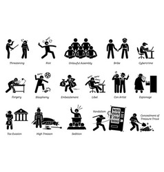 Crime criminal and law breakers pictograph depicts vector