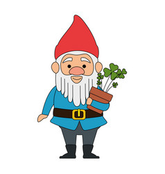 Cute gnome with clovers plant character vector