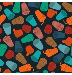 dark flat seamless pattern colored plastic cups vector image