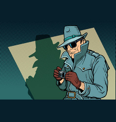 Detective spy shadow vector