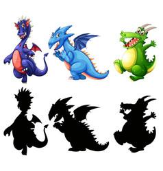 different design of dinosaur set vector image
