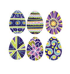 easter eggs set with hand-drawn traditional decor vector image