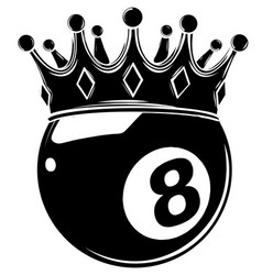 eight ball pool crown design vector image