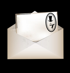 envelope and retro male card vector image