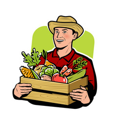 Farmer with vegetables agriculture farm vector