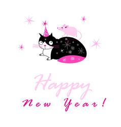 festive new year card with a cat and a mouse vector image