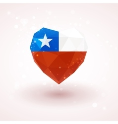 Flag of Chile in shape diamond glass heart vector image