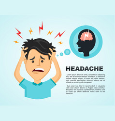 Flat man with a headache vector