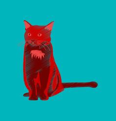 Flat shading style icon cat vector