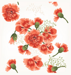 Floral pattern with field red poppy vector