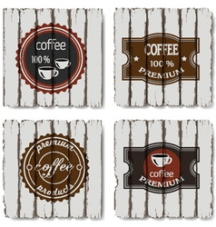 Four coffee labels vector image