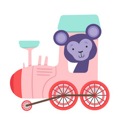 Funny monkey with bucket ears riding on train vector