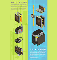 Gadgets scheme banner set vector