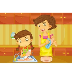 Girl helping mother doing dishes vector