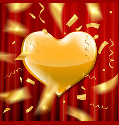 gold heart on a red background vector image