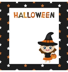 Greeting card with cartoon witch vector