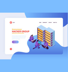 hacker group landing page vector image