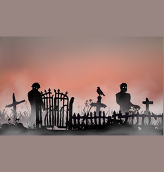 halloween related landscape with undead people vector image