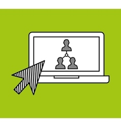 Hand draw laptop group social network media vector