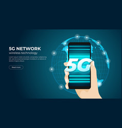hand holding 5g smartphone fifth generation vector image