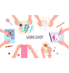 handmade workshop craft diy knitting drawing and vector image