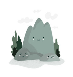 happy mountains day cute funny cartoon mountains vector image