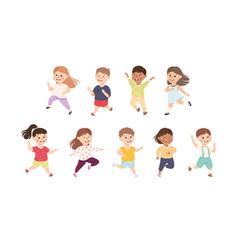 Happy running boys and girls set preschool kids vector