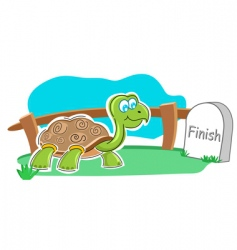 happy tortoise with finish stone vector image