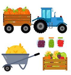 Harvest flat icons harvesting equipment for vector