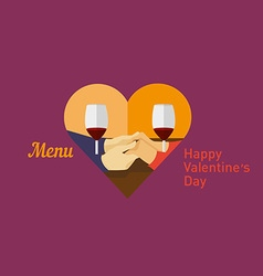 Icon lovers holding hands and drinking wine vector