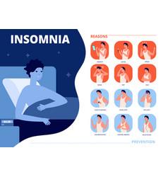 Insomnia causes sleep problem anxiety nightmare vector