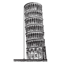 Leaning tower city of pisa vintage engraving vector