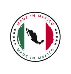 made in mexico round label vector image