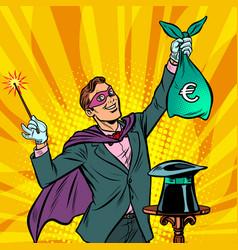 Magician with euro money vector