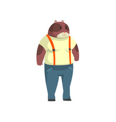 Man with beaver head animal character wearing vector