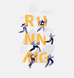 marathon runner running sport competition banner vector image