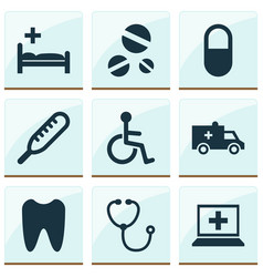 Medicine icons set with database disabled claw vector