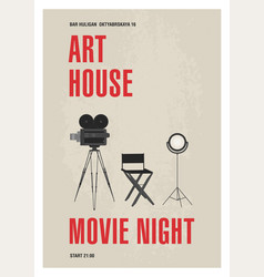 Minimalistic poster template for art house movie vector