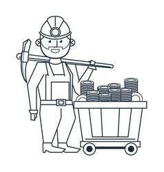 mining worker with pick and wagon vector image