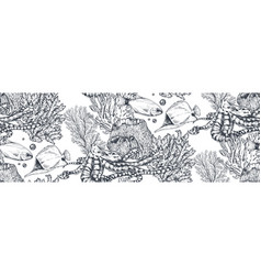 Monochrome seamless sea pattern with vector