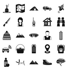 mountain holiday icons set simple style vector image